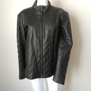 Coldwater Creek XL leather quilted black jacket